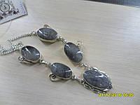 Ожерелье с натуральным камнем турмалиновый кварц в серебре. Колье с кварцем.