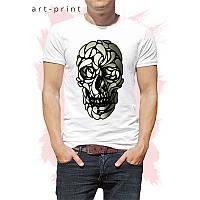 Чоловіча футболка бавовна біла з черепом в узорі, фото 1