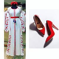 Длинное платье с клиньями белый лен вышивка дерево красное бирюза, фото 1