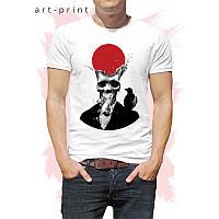 Чоловіча футболка бавовна біла з принтом SKULL, фото 1