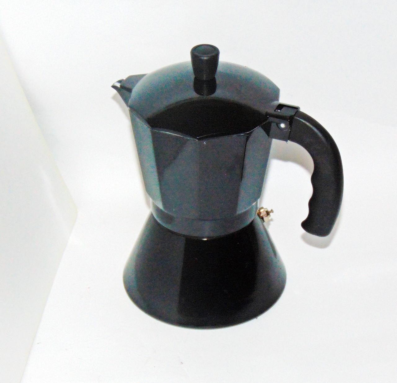 Кавоварка алюмінієва на 6 чашок чорна (індукція)