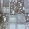 Бязь с бежевыми и коричневыми квадратами с растительным и геометрическим принтом