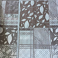 Бязь с бежевыми и коричневыми квадратами с растительным и геометрическим принтом, фото 1