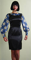 Платье-сарафан с рукавами в синюю клетку Арт.956