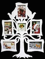 Фоторамка-коллаж на 6 фотографий «Семейное дерево», белого цвета  64х50 см