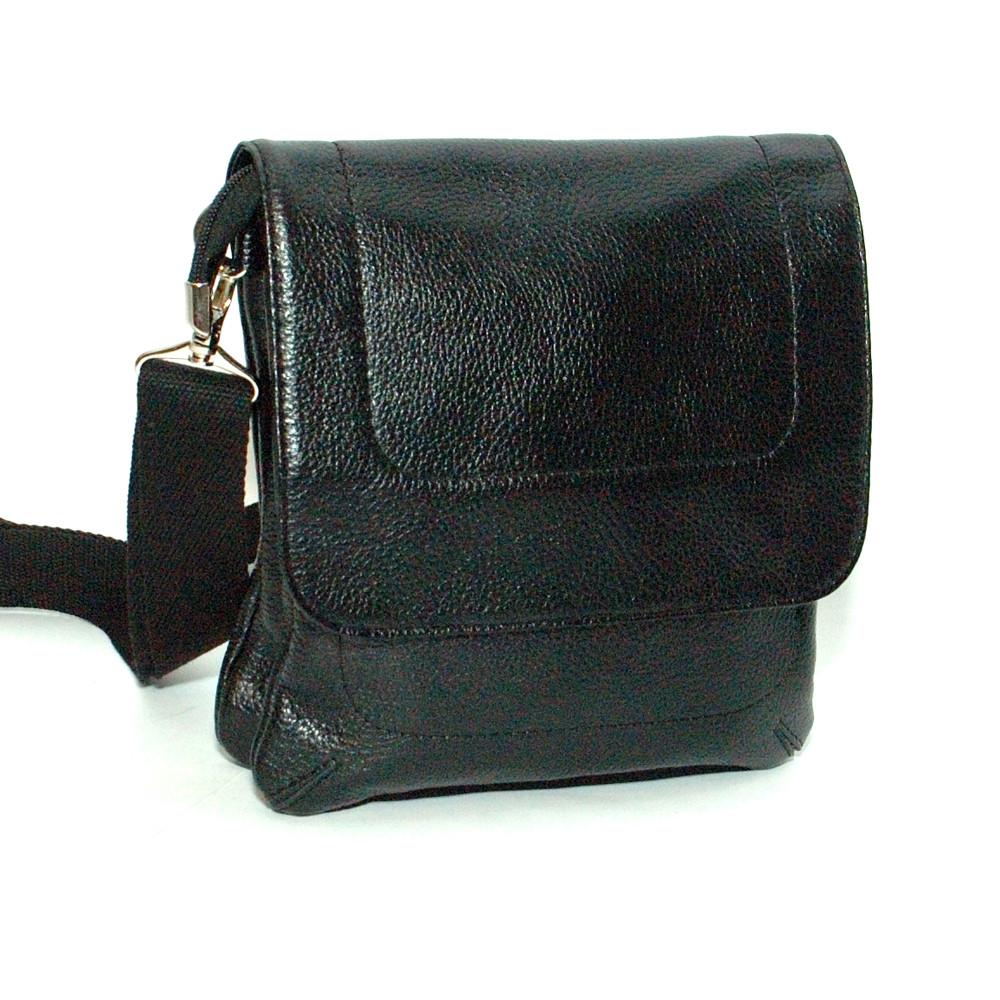 Мужская кожаная сумка 07 черный флотар 04070101