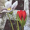 Бязь с крупными красными и белыми цветами на тёмном фоне