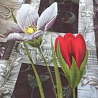 Бязь с крупными красными и белыми цветами на тёмном фоне, фото 1