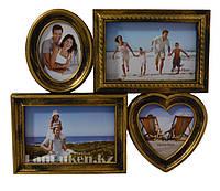 Фоторамка-коллаж на 4 фотографий, золотого цвета