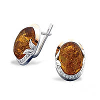 Серебряные серьги с янтарем и золотом