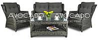 Комплект плетеной мебели  BILBAO 2 MELAGE GREY диван +кресла+стол