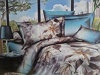 Комплект постельного белья из сатина с рисунком 3D.Постельное белье лилии на голубом фоне.