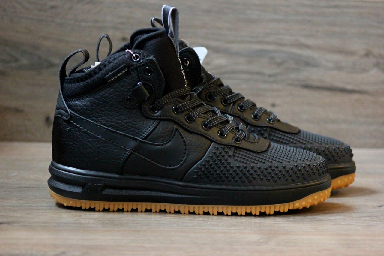 Мужские кроссовки Nike lunar force 1 duckboot черные топ реплика