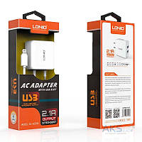 Зарядное устройство LDNio Dual home charger + Micro USB Cable 2.1A White (DL-AC200)