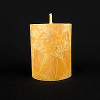Свеча из пальмового воска, оранжевая h 70, Ø 55 мм