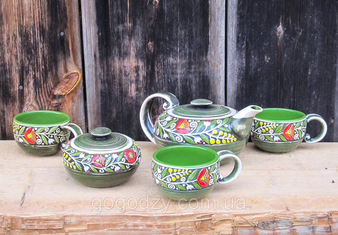 """Чайний набір """"Вінок"""" зелений"""