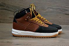 Мужские кроссовки Nike lunar force 1 duckboot черно-коричневые топ реплика