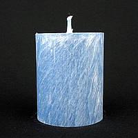 Свеча из пальмового воска, синяя h 70, Ø 55 мм