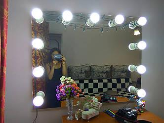 Визажные зеркало с лампочками, без рамы, фото 2