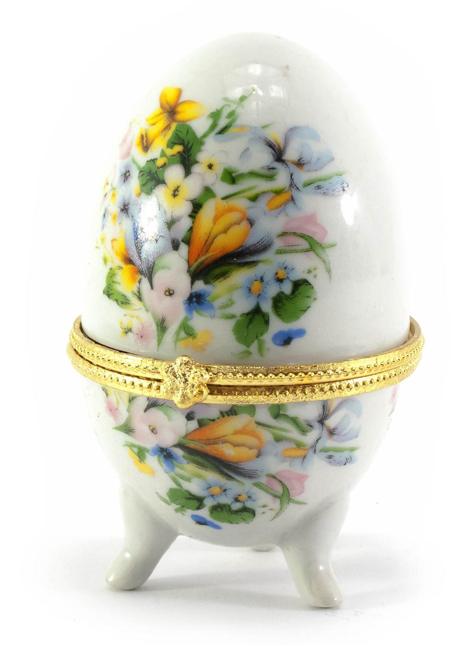 Шкатулка яйцо Желтые цветы