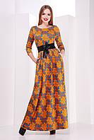 Длинное платье оранжевого цвета с розами р.S