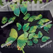 Наклейки обемные 3D/3Д бабочки на стену,холодильник для декора - зеленая серия, фото 2