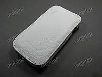 Кожаный чехол Melkco Samsung i8190 S3 mini (белый)