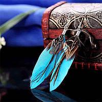 Сережки пір'їнки голубі