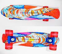 """Пенни борд Penny Art  (22"""") с рисунком светящиеся колеса  Fish"""