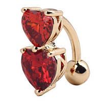 Серьга в пупок с красными цирконами сердце, цвет - золото