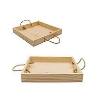 Поднос деревянный с ручками, 27х40х4 см