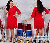 Модное женское платье с перфорацией большого размера 50, 52, 54, 56