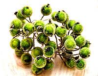 Калина декоративная в сахаре, двусторонняя, на проволоке, 20 веток/40 ягод, цвет зеленый