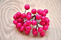 Калина декоротивная глянцевая, двусторонняя, на проволоке, 20 веток/40 ягод, цвет малиновый