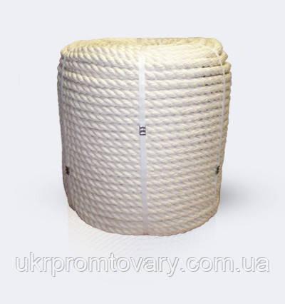 Канат хлопчатобумажный 3-прядный крученый, диаметр ф 37 мм, канаты шнуры веревки производство