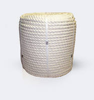Канат хлопчатобумажный 3-прядный крученый, диаметр ф 26 мм, канаты шнуры веревки производство