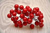 Калина декоративная глянцевая, двусторонняя, на проволоке, 20 веток/40 ягод, цвет красный