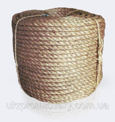 Канат манильский тросовой свивки 3-х прядный крученный, диаметр ф 20 мм, канаты шнуры веревки производство, фото 2