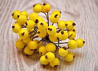 Калина декоративная в сахаре, двусторонняя, на проволоке, 20 веток/40 ягод, цвет желтый