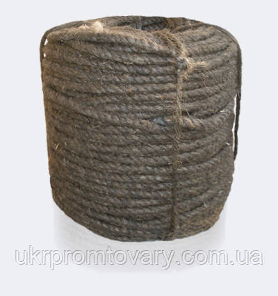 Канат (веревка) пеньковый, пропитанный, смоляной, тросовой свивки, диаметр ф 22 мм, канаты шнуры веревки производство