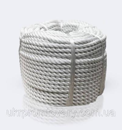 Канат полиамидный тросовой свивки, диаметр 16 мм, канаты шнуры веревки производство
