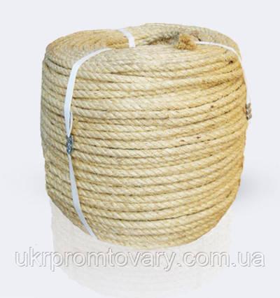 Канат сизалевый тросовой свивки 3-х прядный крученный, диаметр ф 12 мм, канаты шнуры веревки производство, фото 2