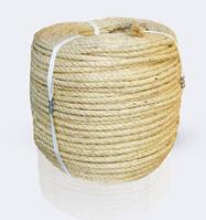 Канат сизалевый тросовой свивки 3-х прядный крученный, диаметр ф 14 мм, канаты шнуры веревки производство
