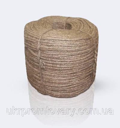 Веревка льняная 3-х прядный крученный, диаметр ф 20 мм, канаты шнуры веревки производство, фото 2
