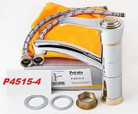 Смеситель для кухонной мойки Potato P4515-4 золото хром