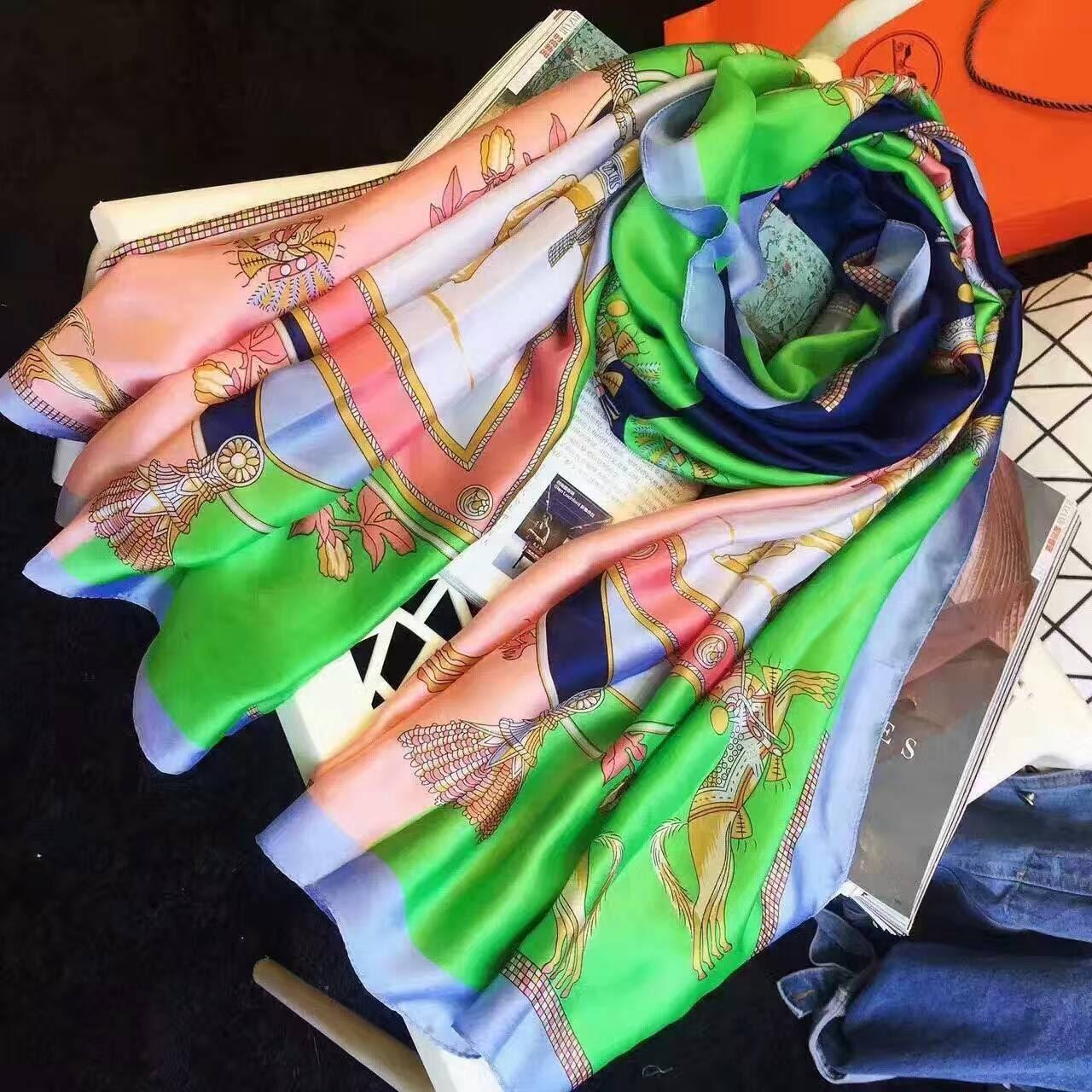 d694fe243282 Большой платок палантин HERMES легкий шелковый - Интернет-магазин