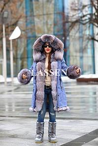 Парка джинсовая с мехом Blue frost L135