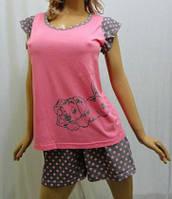 """Пижама женская футболка с крылышком и шортики,""""сердце 14го февраля"""""""