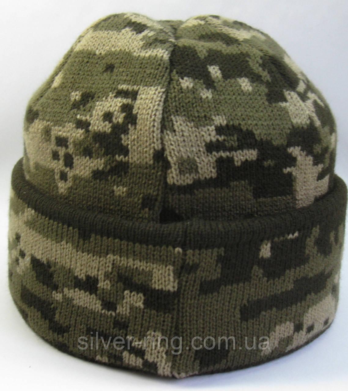 №2 -  Вязаная шапка вязаная пиксель с подворотом, флисом на всю голову
