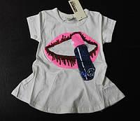 Белая футболка -туничка на девочку с губками